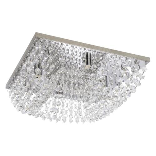 LUSTRE PLAFON DE CRISTAL QUADRADO 4L + LAMPADA LED 3W 2700K