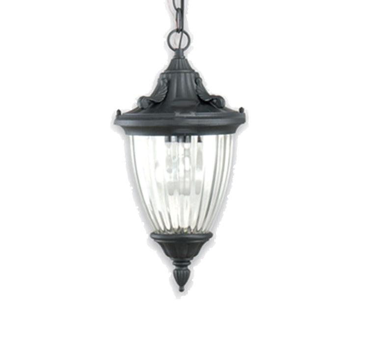 PENDENTE EM METAL COLONIAL VINTAGE C/VIDRO 1 LAMPADA