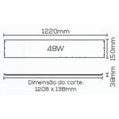 PLAFON DE LED DE EMBUTIR RETANGULAR 48W BIVOLT - NEUTRO