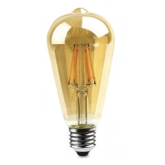 LAMPADA LED PERA FILAMENTO ST64 4W E-27 BIV. BRANCO QUENTE
