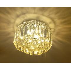 LUSTRE PLAFON DE CRISTAL KRI REDONDO 4L + LAMPADA LED 3W 2700K