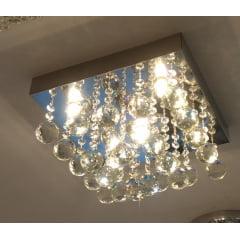 LUSTRE PLAFON DE CRISTAL 6L + LAMPADA LED 3W 2700K