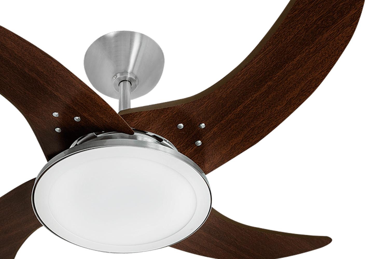 Ventilador de teto TRON Mareiro LED Aluminio Escovado 4 Pas Tabaco